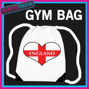 ENGLAND ST GEORGES FLAG HEART LOVE GYM DRAWSTRING WHITE GYMSAC BAG